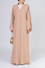 Feradje Pink Closed Abaya with Side Lace in Silk