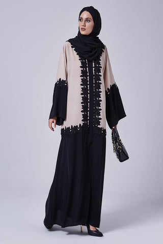 Feradje Closed Beige and Black Abaya with Floral Embroidery in Silk
