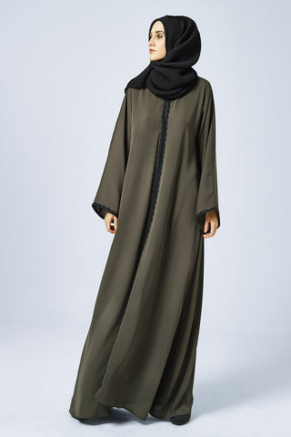 Closed Olive Green Abaya with Black Lace in Silk