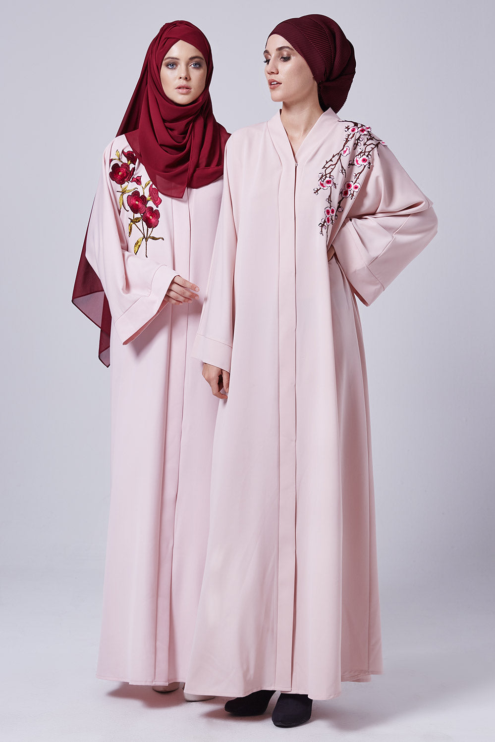 Feradje Pink Abaya with Flowers on Chest in Silk
