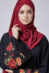 Feradje Black Closed Abaya with Red Flowers and Lace on Sleeves & Bottom Hemline in Silk