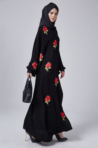 Feradje Black Closed Abaya with Red Roses in Crepe