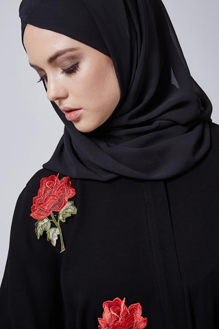 Black Closed Abaya with Red Roses in Crepe