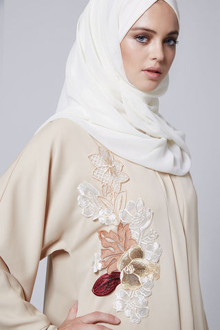 Closed Beige Cream Abaya with Flowers in Front in Silk
