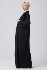Feradje Black Open Abaya Frills Collar