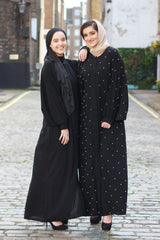 Feradje Black Closed Abaya with White Pearls in SIlk