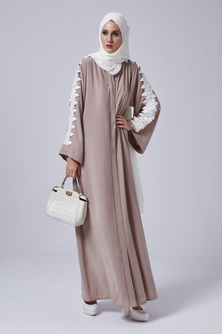 Beige Open Front Abaya with White Lace on Shoulders in Silk