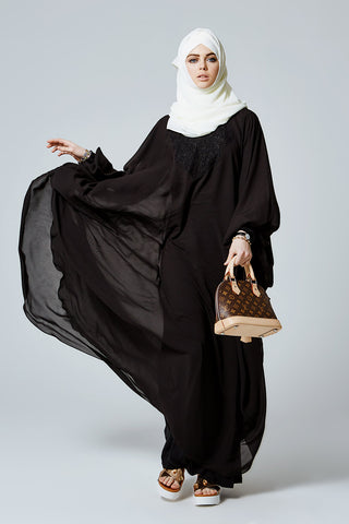Feradje Black Batwing Sleeve Abaya with Chest Sleeve Embroidery in Chiffon
