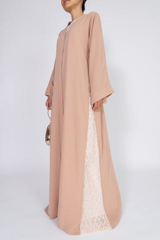 Feradje Blush Closed Abaya with Side Lace in Silk