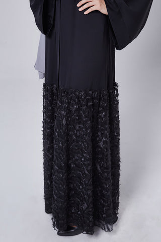 Feradje Black Closed Abaya with Lace Tulle at Bottom