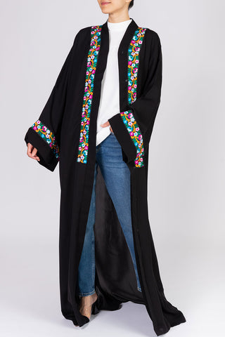 Feradje Black Abaya with Floral Embroidery in Nida