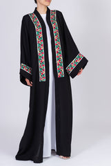 Feradje Black Abaya with White Floral Flowers in Nida