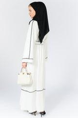 Feradje White Closed Abaya Kimono with Black Lines, Sash in Crepe