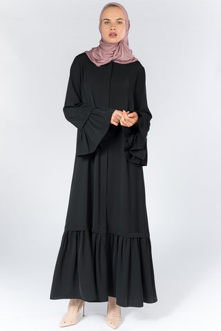 Black Open Abaya with Frills on Sleeves and Bottom Hemline in Nida