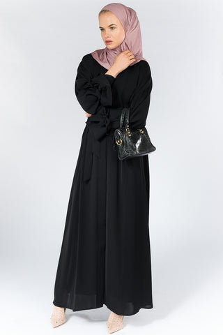Black Open Abaya with Sash on Sleeves and Waist in Nida