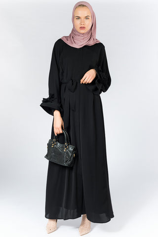 Feradje Black Closed Abaya with Sash on Sleeves and Waist in Nida