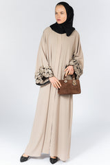 Feradje Beige Closed Abaya with Frills on Sleeves in Crepe