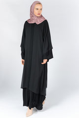 FERADJE London open front two layers abaya black UK