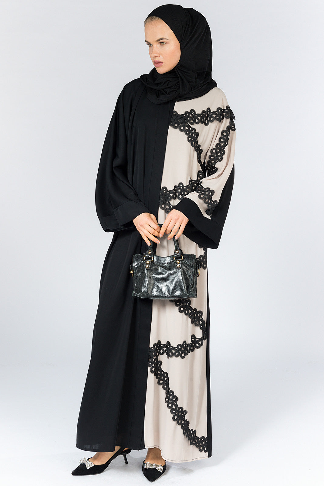 Feradje Black Closed Abaya with Beige Front and Lace in Nida