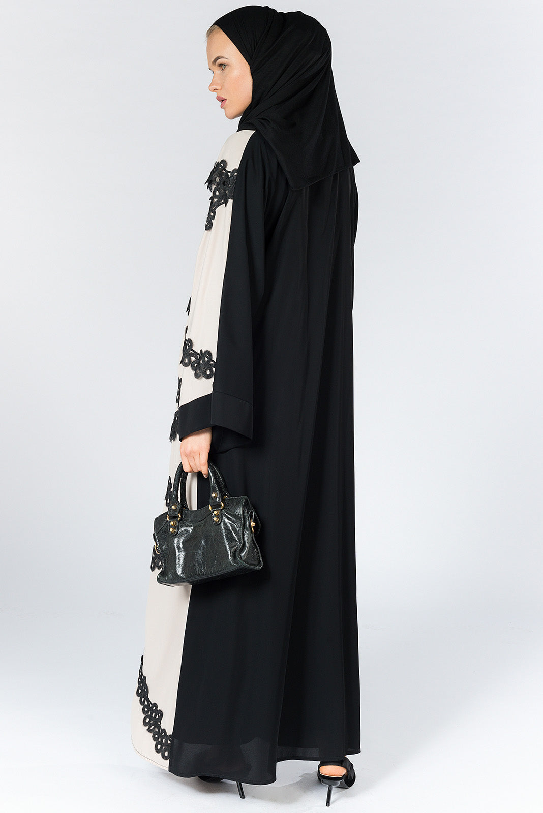 Black Open Abaya with Beige Front and Lace in Nida