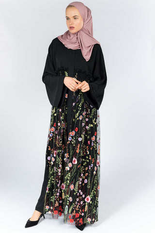 Feradje Black Closed Abaya with Floral Net on Front in Silk