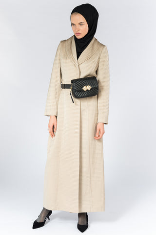 Open Beige Pleated Abaya with Collar