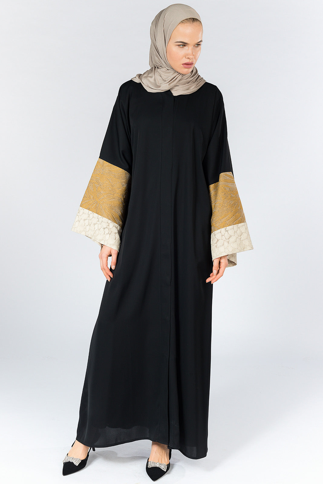 Black Closed Abaya with Beige and White Textured Sleeves in Silk