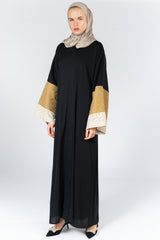 Feradje Black Closed Abaya with Beige and Gold Textured Sleeves in Silk