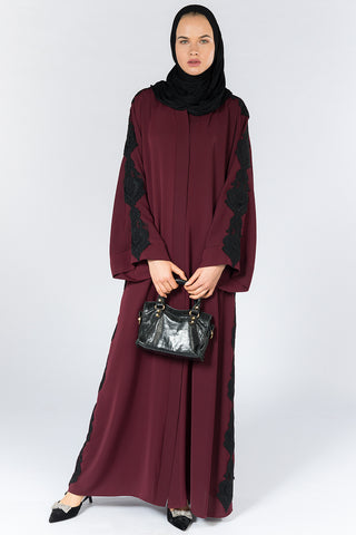 Feradje Red Closed Abaya with Black Lace on Sleeves and Sides in Silk