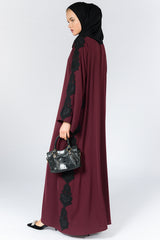 Red Closed Abaya with Black Lace on Sleeves and Sides in Silk