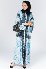 Blue Closed Floral Abaya with Black Lace in Crepe