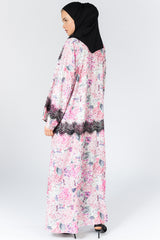 Closed Pink Abaya with Black Lace in Crepe