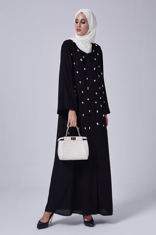 Black Closed Abaya with Diamond Gemstones in Nida