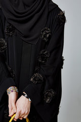Feradje Black Open Abaya with 3D flowers in Silk