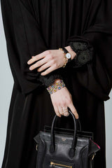 Feradje Black Plain Close Abaya with Zipper, Lace on Cuffs in Crepe