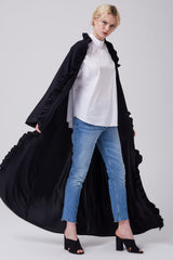 Feradje Black Open Abaya with Frills on Plackets