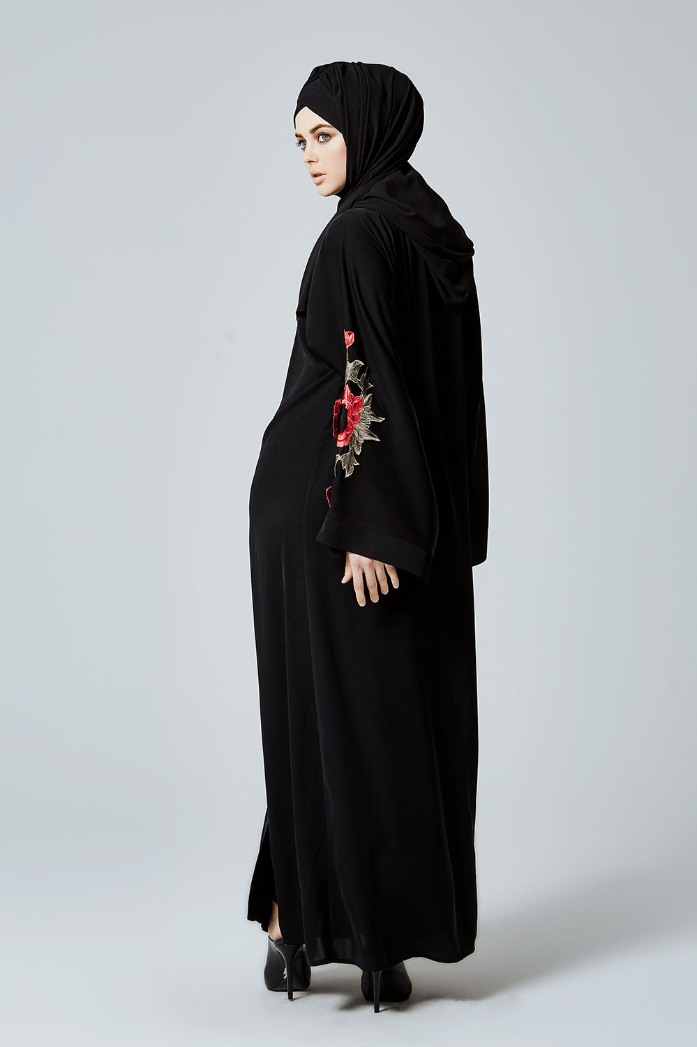 Black Closed Abaya with Red Flowers on Sleeve and Chest in Silk