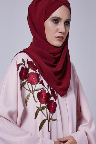 Closed Pink Abaya with Red Flowers on Right Chest in Silk