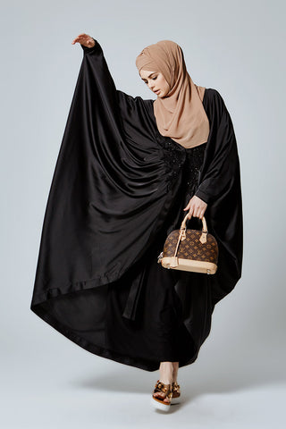 Feradje Black Batwing Abaya with Front Embroidery in Satin