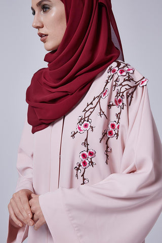 Pink Closed Abaya with Flowers on Left Shoulder and Chest in Silk