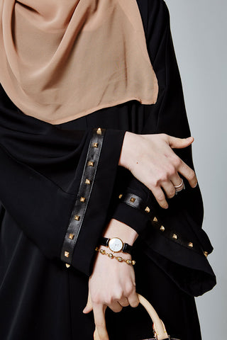 Black Closed Abaya with Gold Studs and Leather in Silk