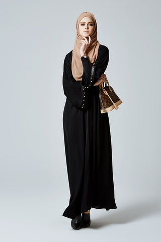 Feradje Black Closed Abaya with Gold Studs and Leather in Silk