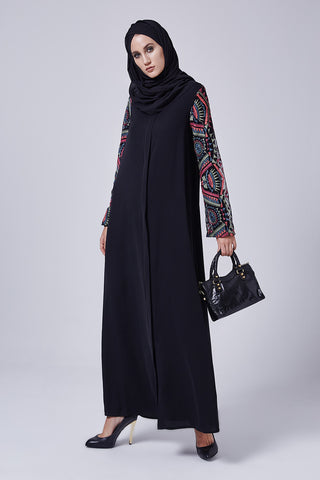 Feradje Black Closed Abaya with Colourful Sleeves in Silk