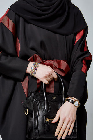 Feradje Black Batwing Abaya Dress with Red Ribbon in Silk