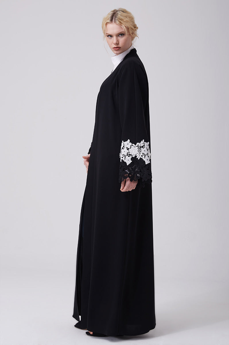 Black Open Abaya with Black and White Lace on Sleeves in Crepe