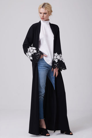 Feradje Black Open Abaya with White Lace on Sleeves in Crepe