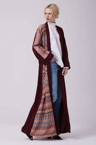 Feradje Open Red Abaya with Knitted Front in Crepe