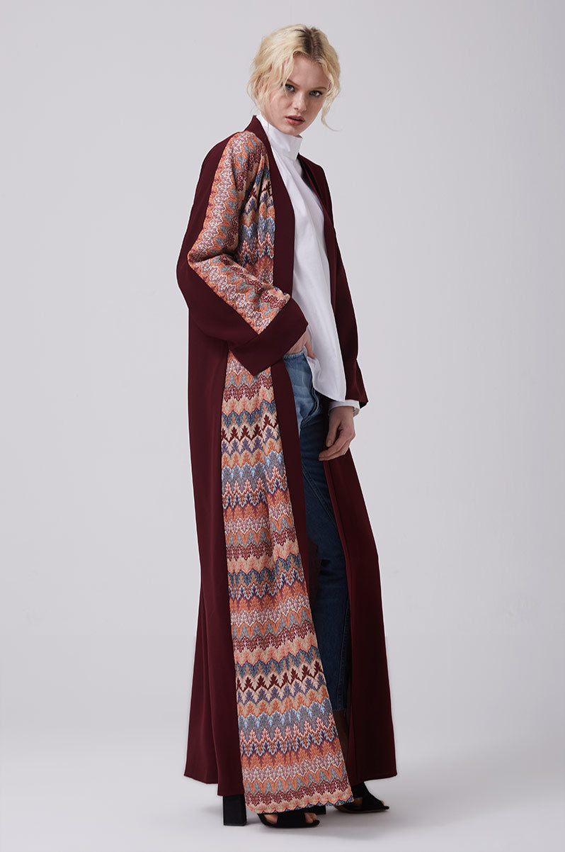 Open Red Abaya with Knitted Front in Crepe