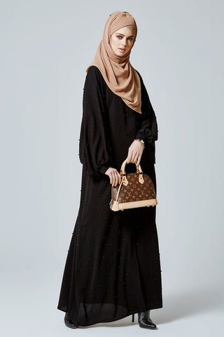 Feradje Black Closed Abaya with Pearls in Silk