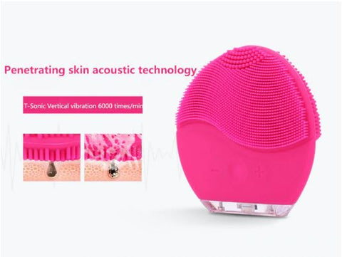 Ultrasonic Electric Face Massager Facial Cleansing Brush Vibration Skin Remove Blackhead Pore Cleanser Waterproof Silicone Face Massager (3)